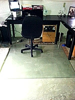 Glass chair mat for cement floors